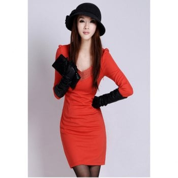 Slim Fit Solid Color Zipper Design V Neck Long Sleeves Dress