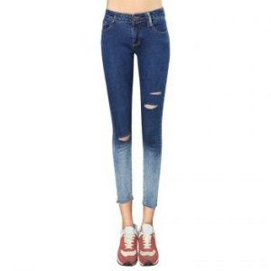Chic Button Design Ombre Hole Design Skinny Denim Pants For Women