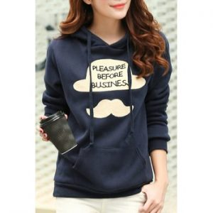Long Sleeve Letter Hooded Color Block Hoodie For Women