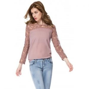Hollow Out Design Long Sleeve Blouse