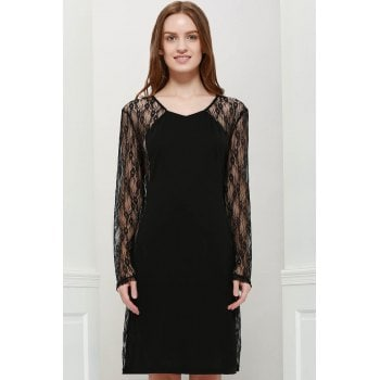 V Neck Bodycon Floral Pattern Lace Splicing Long Sleeves Club Dress