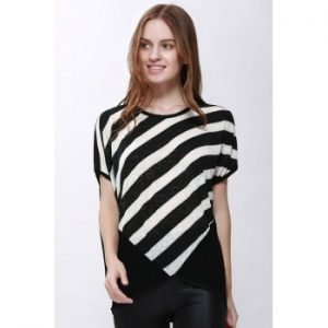 Scoop Neck Sloping Stripe Print Batwing Sleeve Blouse