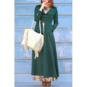 Turn Down Collar Solid Color Tunic Maxi Coat