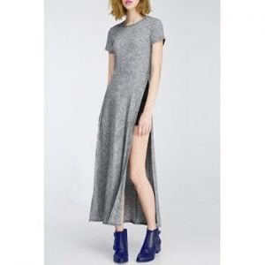 Round Collar Short Sleeve High Slit Pure Color Women s Dress