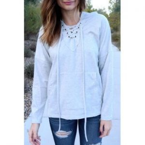 Hooded Long Sleeve Lace Up Solid Color Pullover Hoodie