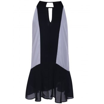 Black and White Spliced Sleeveless Chiffon Dress