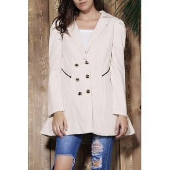 Turn Down Collar Double Breasted Long Sleeve Trench Coat For Women