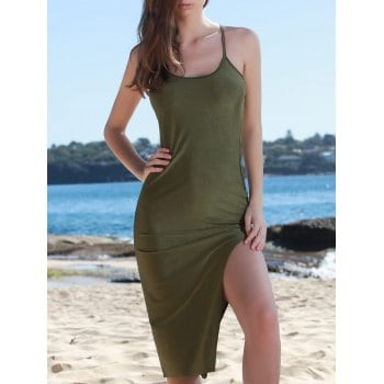 Spaghetti Strap Solid Color Back Criss Cross Side Slit Bodycon Dress