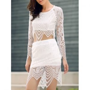 Lace Crop Top With Lace Skirt