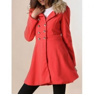 Double breasted Waisted Long Sleeves Slimming Coat