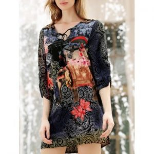 Lace Up V Neck Flower Ethnic Print 3 4 Sleeve Dress
