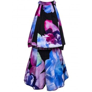 Stand Collar Floral Print Sleeveless Crop Top and Shorts Twinset For Women