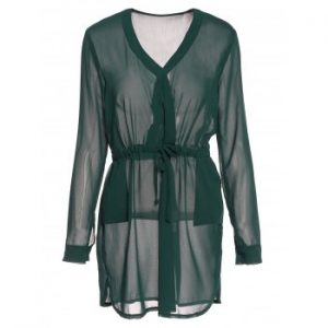 Plunging Neck Long Sleeve Solid Color Drawstring Dress