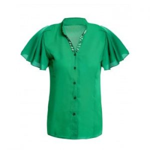 V Neck Beaded Ruffled Short Sleeve Chiffon Blouse For Women