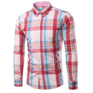 Turn Down Collar Long Sleeve Pink Plaid Shirt For Men