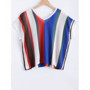 V Neck Colorful Striped Short Sleeves Knitwear For Women