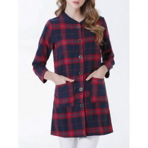 Buttoned Pocket Design Plaid Women s Coat