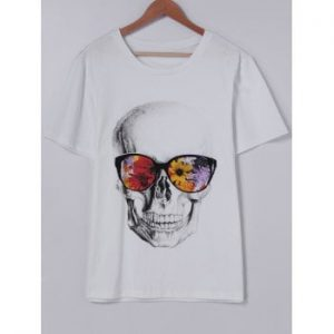 Short Sleeves Round Collar CrossBones Printing With T Shirt For Men