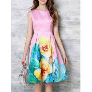 Women s Charming Blossom Bright Color Dress