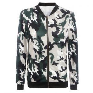 Stand Collar Zippered Camouflage Pattern Jacket