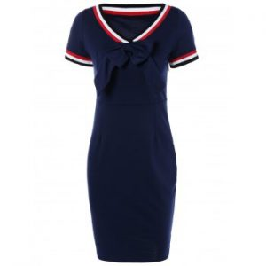 Preppy V Shape Stripe Bowknot Sheath Dress
