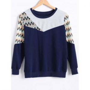 Hollow Out Zig Zag Crochet Sweatshirt