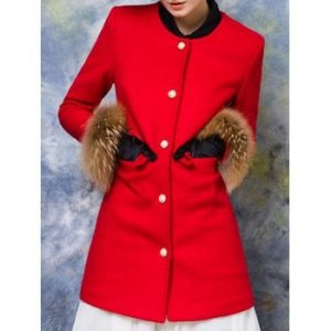 Pocket Design Fur Embellished Buttoned Coat