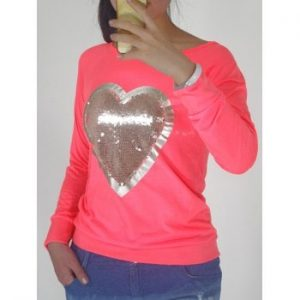 Heart Pattern Sequin Embellished Sweatshirt