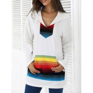 Front Pocket Colorful Striped Sweatshirt