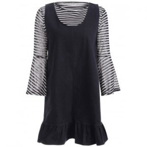 Bell Sleeve Stripe Top and Denim Flounced Short Dress Twinset