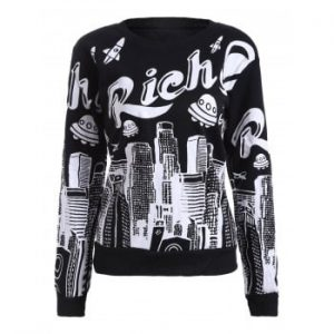 Building Print Fleece Sweatshirt