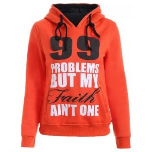 Letters Print Double Pocket Design String Hoodie