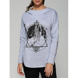 Rounded Hem Graphic Hoodie
