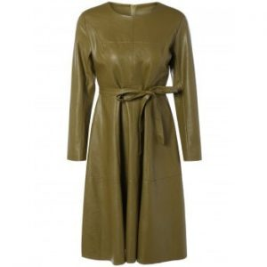 Belted PU Leather Dress