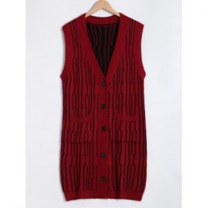 Front Pockets Design Button Up Hand Knitted Sweater Vest