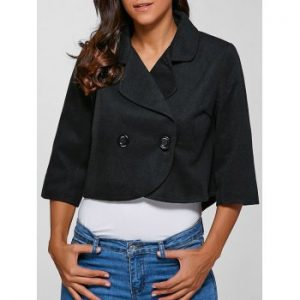 Buttoned 3 4 Sleeves Jacket