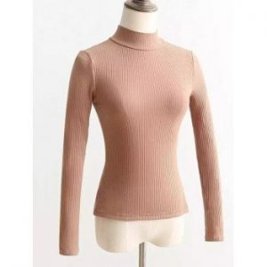 Back Lace Up Mock Neck Knitted Sweater