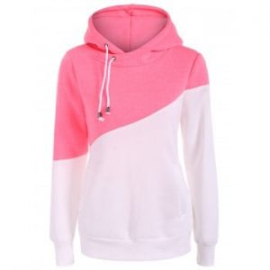 Color Block Drawstring Pullover Hoodie