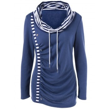 Cowl Neck Striped Trim Ruched T Shirt