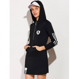 Hooded Zip Striped 5 Graphic Dress