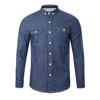 Back Pleated Chambray Button Down Shirt