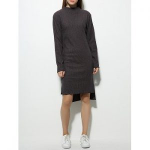 Long Sleeve Slimming High Low Sweater Dress
