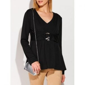 Ruched Long Sleeve Tunic T Shirt