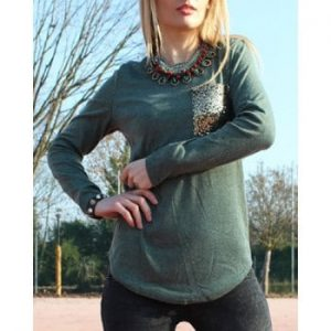 Scoop Collar Long Sleeve Sequined T Shirt