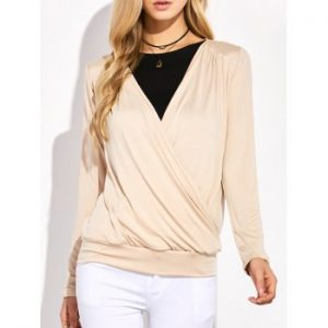 Plunging Neck Surplice Ruched T Shirt