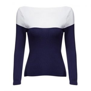 Round Collar Color Block Knitted Women Pullover