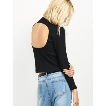 Long Sleeve High Neck Cutout Tee