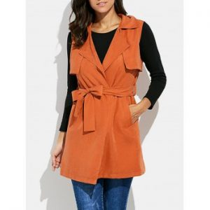 Turn down Collar Sleeveless Pure Color Women Jacket with Belt