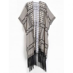 Geometric Print Fringed Design Short Sleeve Kimono Blouse For Women