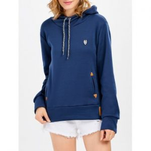 Long Sleeve Hooded Pocket Design Hoodie for Women